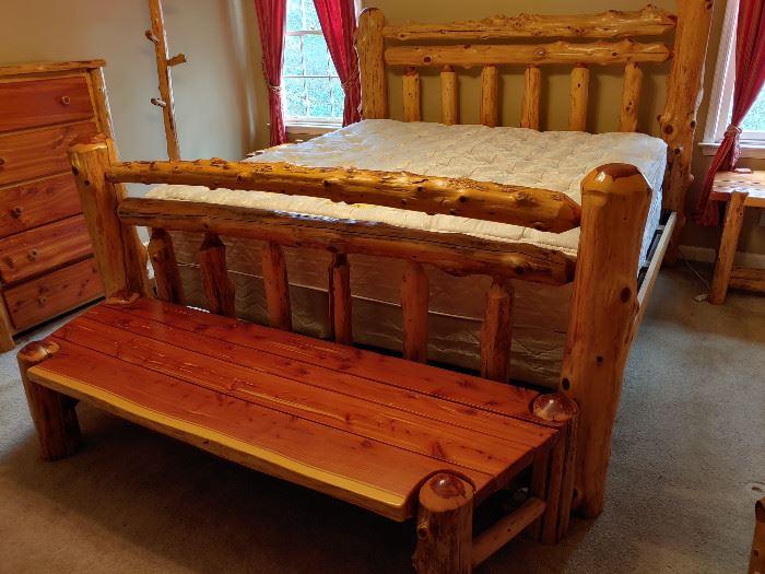 7 Piece King Size Red Cedar Log Bedroom Suite
