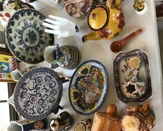 Lots of English, Italian, Spanish, Lustre Wares. The hand waved goodbye with the family. Some of the Italian and English in this picture have sold, but plenty left. A few roosters are still in the pen!