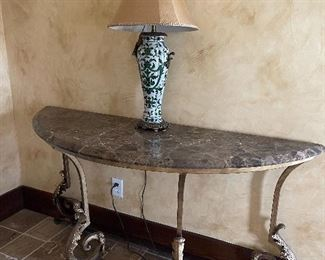 2 Matching Marble and Iron Entry Tables