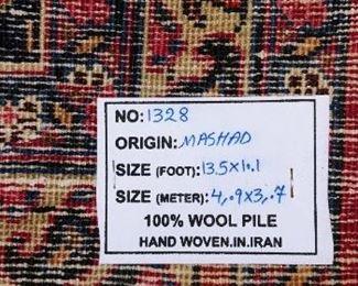 Mashad 100% Wool Rug  13.5' x 10.1'