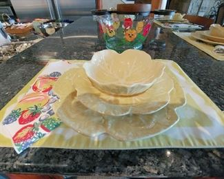 Sur La Table Casual Dining Ware - 13 pcs - Yellow Cabbage Leaf Pattern
