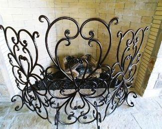 Ornate Iron Fireplace Screen