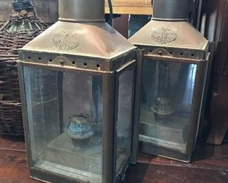 We have TWO of these big HEAVY Viking vintage brass marine lanterns available....big, beautiful, and unusual!