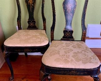 """#1004A  Set of 10 Chinoiserie  dining  chairs (all sides).  17"""" (w) x 15"""" (d) Sold as a set only. $110 each OWNER MINIMUM $85ea"""