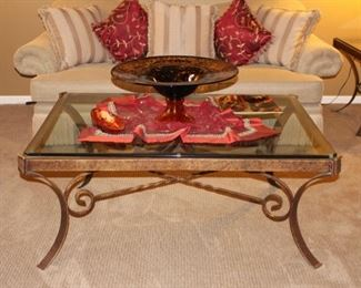 Coffe table with recycled glass decor/Persian embroidery