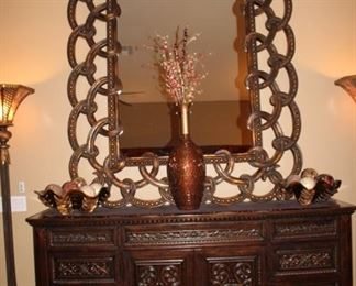 Custom mirror and Barolo style buffet from Ladlow's