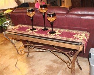 Sofa/wall glass top table
