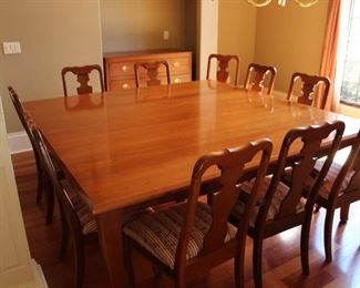 Robert Bergelin Company Custom Made Heritage Cherry Dining Table and 10 chairs
