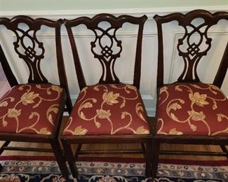 3 Additional Chippendale Mahogany Dining Chairs