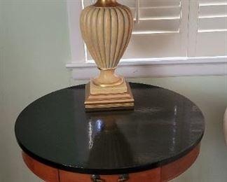 Beautiful vintage Harp-base Drum Table