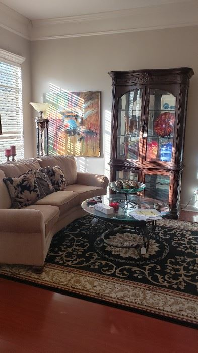 Living Room area, Woodbridge sofa, curio base/top, Noble Collection area rug