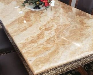 Marble top ornate dining table, floral