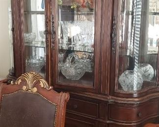 Curved China Cabinet with glass shelves