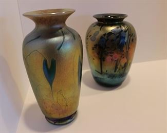 Saul Alcaraz, green and gold heart (Santa Barbara) and Art Allison (Northern Texas) gold and blue art glass vase