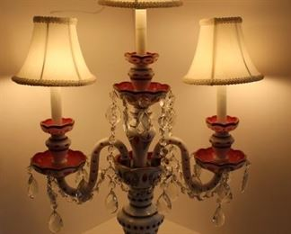 Bohemian cased glass white cut to cranberry triple lamp in excellent condition.