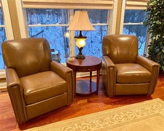 Leather chairs / nailhead arm chairs