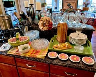 placemats , napkins, napkin rings, plates, dishes  etc.