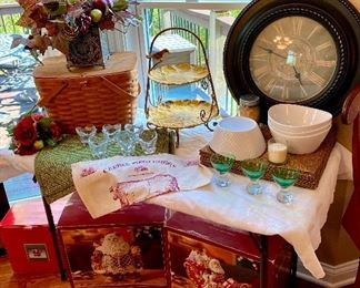 Fitz and Floyd , Clock, Longaberger picnic basket, bowls, placemats etc.
