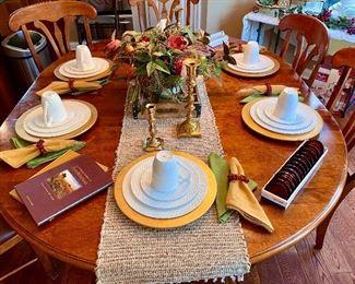 Mikasa Trellis pattern dinnerware / dishes set , Pier 1 gold chargers , Wine books , napkins, napkin rings etc.