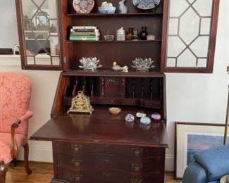 BEAUTIFUL CHIPPENDALE SECRETARY.  NICE DECOR.  VINTAGE PAPERWEIGHTS.