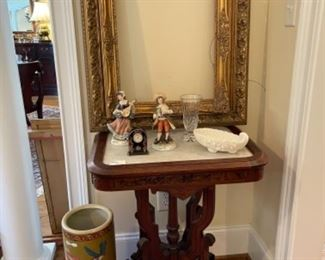 VICTORIAN PARLOR TABLE.  ANTIQUE COBALT AND GOLD CLOCK.  NICE SELECTION OF ANTIQUE AND VINTAGE FRAMES