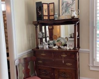 BEAUTIFUL EARLY MIRRORED BUFFET/SERVER.  IMPORTANT CHINESE SCREEN GIFTED BY CHINESE CONSULATE.