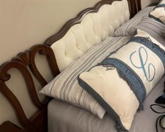 MASTER BED.  VERY SWEET UPHOLSTERED HEADBOARD.