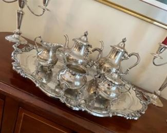 GORHAM STERLING TEA SET AND BEAUTIFUL GORHAM SILVER PLATE TRAY.