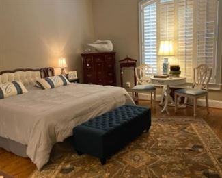 MASTER BEDROOM.  BEAUTIFUL KARASTAN RUG.  RESTYLED SHIELD BACK CHAIRS AND DRUM TABLE