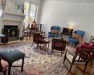 GREAT SELECTION OF OCCASIONAL CHAIRS.  THREE FIRE SCREENS.  BIG ART PIECES