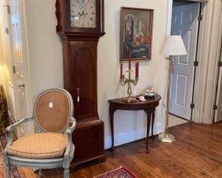 BEAUTIFUL ANTIQUE CASE CLOCK.  NICE DEMILUNE ACCENT TABLE.