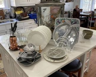 WEDGWOOD DISHES. BAR STOOLS. WILTON WARE.  LOTS OF KITCHEN ITEMS AND SMALL APPLIANCES.