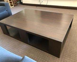 "Custom walnut coffee table measuring 62"" x 42"" x 15"" high"