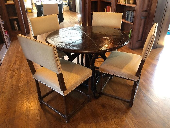 "Charles Pollock dining table measuring 60"" diameter x 29"" high  and (4) Dennis & Leen Louis XIII side chairs measuring 21"" wide x 21"" depth x 37"" high x 19"" seat height"