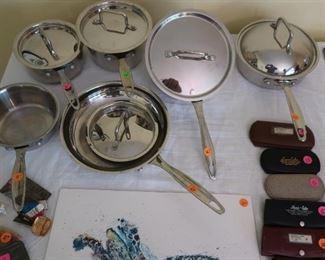 Cuisinart stainless  steel  cookware,  vintage  g/f  eye glasses  (eye glasses  are  sold)