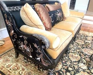 embroidered silk accents on the Century sofa