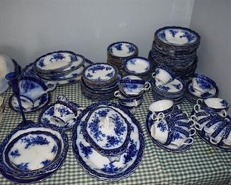 19th Century Flo Blue Dinner service with serving pieces. ( approx.  110 pieces ) 1,110.00