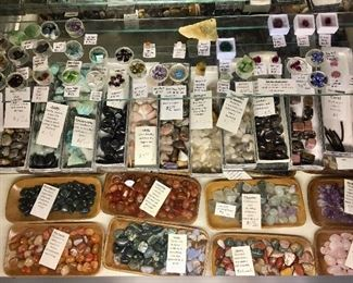 Large assortment of healing stones