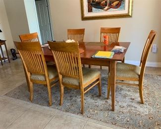 $675~ OBO~ETHAN ALLEN CHERRY TABLE AND SIX CHAIRS $450~ OBO~KARASTAN SILK  RUG  5.9 X 9'