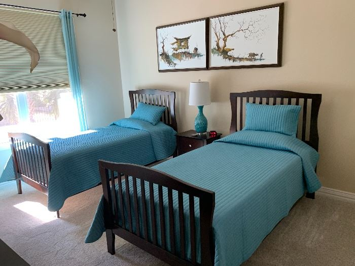 $750~ PRECIOUS ASHLEY TWIN BEDS WITH MATTRESSES AND BOXSPRINGS INCLUDED $65`~ TEAL LAMP