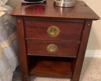 $150~ NIGHTSTAND WITH BRASS EMBELLISHMENTS ( TWO AVAILABLE)