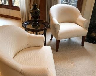 2 Ivory club chairs by R Jones - Dallas, - available  -   small iron and glass side table and urn - SOLD