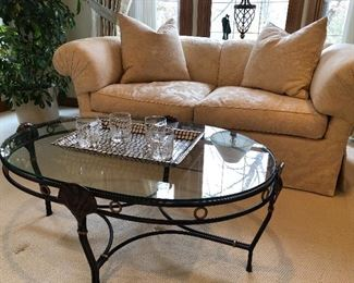 "Custom upholstery by Jack Lenore Larson - loveseat with down cushions - 78"" long,   oval glass and metal coffee table - sold"