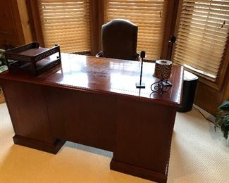 Mahogany Desk with burled walnut inlay and leather office chair