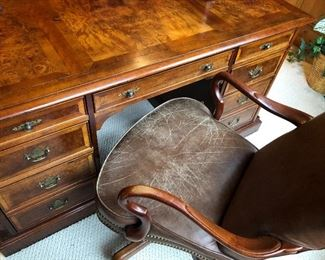 another view of the mahogany desk with leather chair
