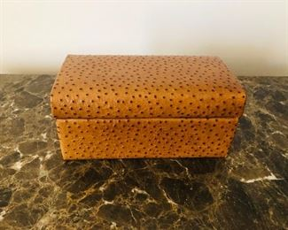 Ostrich covered box - great as a valet box on a dresser or for jewelry