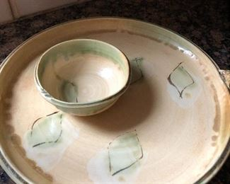 signed pottery platter and dish set