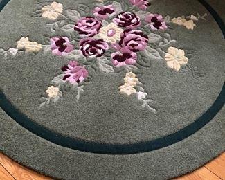 "Large round wool rug - 78"" round"