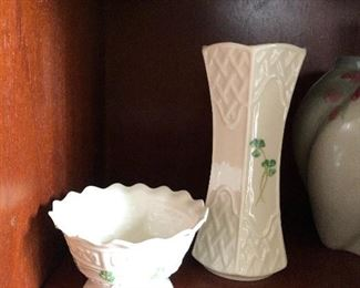 Beleek - Italian china bud vase and nut bowl