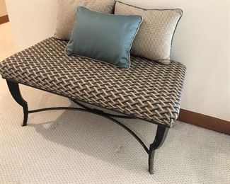 Iron upholstered bench and pillows